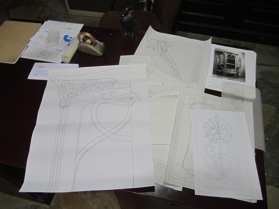 Diferents dibuixos de parts del moble.