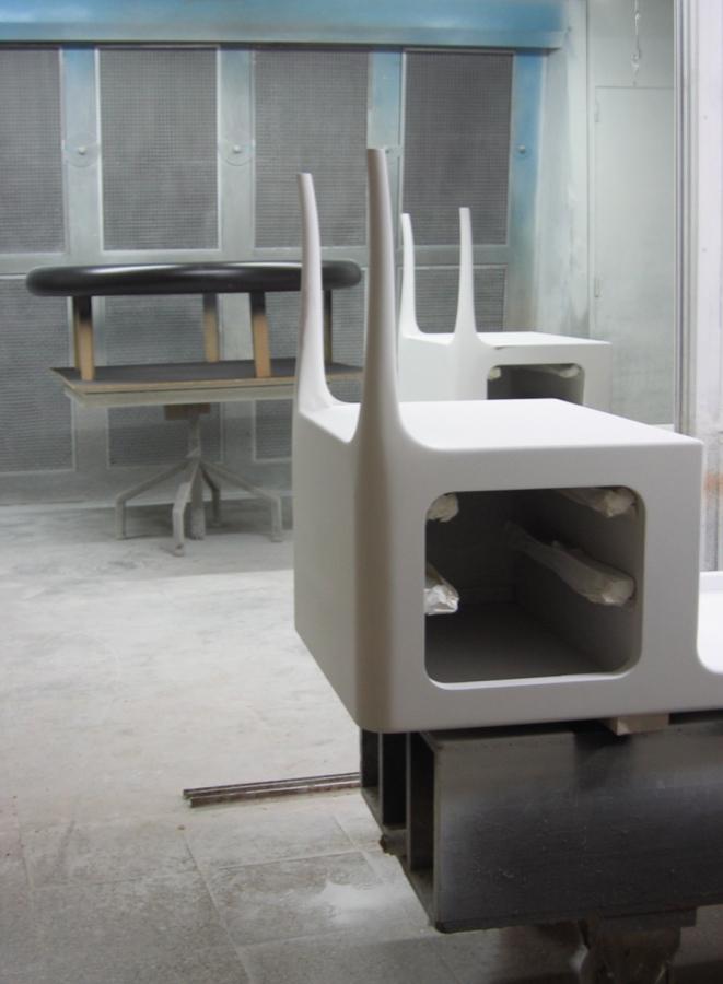 Les taules en procés de lacat, al taller.