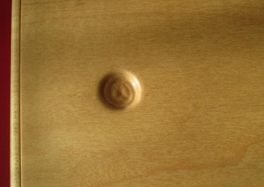 Detall del melic que serveix de polsador per obrir la tapa.